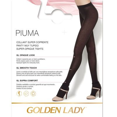 Collant Golden lady Piuma supercoprente caldo morbido blu 1 paio