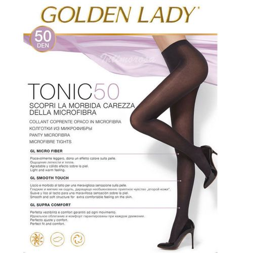 Collant in microfibra GOLDEN LADY TONIC 50 denari coprente caldo opaco nero