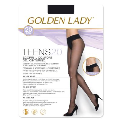 Collant velato vita bassa GOLDEN LADY TEENS 20 denari nero 1 paio