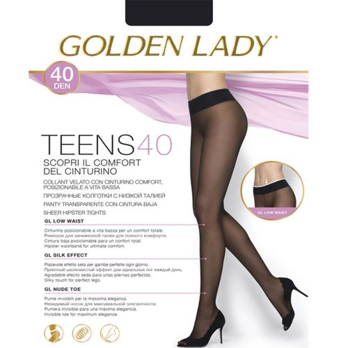 Collant vita bassa GOLDEN LADY TEENS 40 denari microfibbra marrone