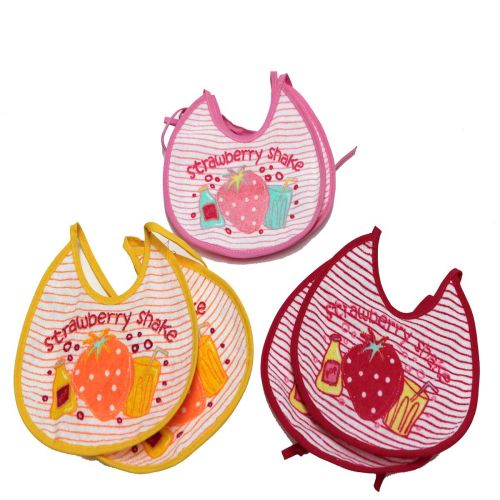 Set 6 bavaglini bavette bimbo l.strawberry 9561